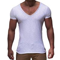 Мужчины Основные T-Shirt Solid V шеи Slim Fit мужской моды T рубашки с коротким рукавом тройники 2018 Марка Мужской футболки Горячие Продажа