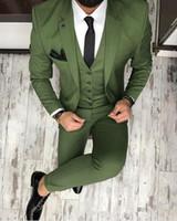 Son Ceket Pantolon Tasarımları Yeşil Erkekler Suit Slim Fit Skinny 3 Parça Smokin Özel Damat Blazer Balo Parti Terno Masculino Suits