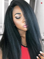 Yaki Straight Human Hair Lace Front Wigs Brazilian Hair Kink...