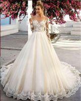 Uma Linha de Manga Longa Marfim Sheer Lace Applique Praia Do País Vestidos De Noiva Vestido De Noiva vestito da sposa Barato Princesa Vestidos de Casamento