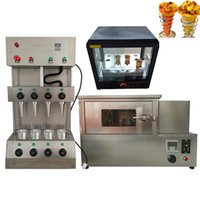 Sistema completo de la pizza eléctrica rotativa comercial de microondas cono de helado de máquina de pizza vitrina de aislamiento del gabinete de pizza 110v 220v