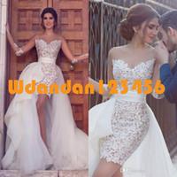 2018 Short Vintage Strand-Brautkleid mit abnehmbarem Chiffon Rock bloßer Spitze Appliqued hohe niedrigen Brautkleider Vestido De Noiva nach Maße