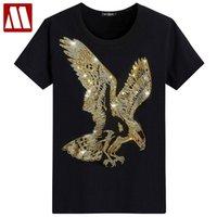 İngiltere Stil Fantezi Tişört Man Elmas Kısa Kollu Tişört Erkek moda Yaz Rhinestone kartal Tasarım Alt T Gömlek CX200707 yazdır