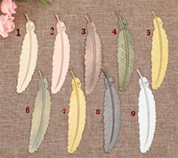 Metal Feather Bookmark Document Book Mark Label Golden Silver Rose Gold Bookmark Office School Supplies