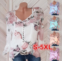 New ladies long sleeve printed shirt V- neck button top chiff...