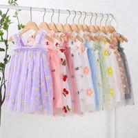 Ins ребёнки вышивки Цветочные Printed платье марли рукавов скольжению летнее платье детей принцесса платья Детская одежда 80-130CM D61805