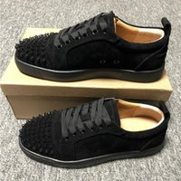 Low top red bottom sneakers for men luxury black leather fas...