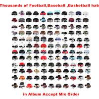 Toptan Tüm Spor Takımları Snapback Kadınlar ve Erkekler Düz Hat Kabul Mix Sipariş için ucuz Ayarlanabilir Caps Şapka
