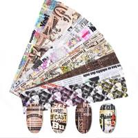2020 Nouveau 10Pcs 4 * 20cm Starry journal Series Nail Stickers Magazine Foils English Lettre papier transfert Nail Art Décorations