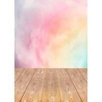 Румяна Акварели деревянный пол Фото Пользовательские фоны Фон студия для детей Детские портретной фотографии реквизита Фотосессия