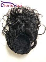 Vücut Dalga İpli At Kuyruğu Siyah Kadınlar Için 100% İnsan Saç Ponytails Malezya Remy Insions Kalın Dalgalı Midilli Kuyruk