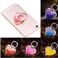 Dedo líquido aperto rotativo 360 anel de luxo titular do gancho de bling glitter coração universal suporte de telefone celular para iphone 6 7 8