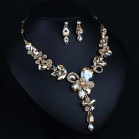 Champagne Silver Silver New Brides Jewelry Accesorios nupciales Joyas Pendientes Collar Corona 2 piezas Envío gratis Encantador para la boda