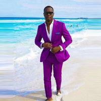 독특한 보라색 groomsmen 피크 옷깃 두 개의 버튼 신랑 턱시도 턱시도 착용을위한 최고의 남자 정장 (자켓 + 바지 + 넥타이)