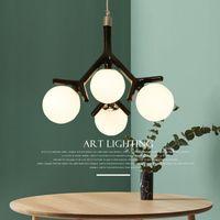 Nordique moderne Art déco boule Led noir blanc plafond suspendu luster éclairage lampe pour cuisine salon loft chambre