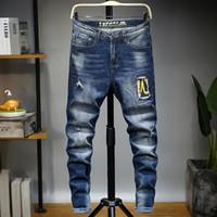 2020 jeans di lusso del progettista degli uomini dei jeans Balman piazza moto cavaliere blu buco alta vita stretta pantaloni degli uomini diritti dei tubi