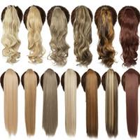 18 Pouces ondulé long clip en queue de faux cheveux Ponytail Postiche avec épingles à cheveux synthétique PonyTail Extension de cheveux