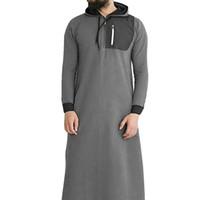 Исламская Мусульманский Арабские Толстовка Мужчины с длинным рукавом с капюшоном с карманом Абая Саудовский Длинные толстовки Robe Мужчины Мусульманская одежда