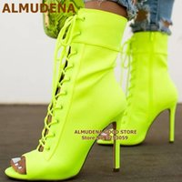 ALMUDENA Neon Elastic Lycra Ankle Boots Pink Heels Cross-tied Short Booties Open Toe Stiletto Heels Lace-up Dress Shoes Pumps