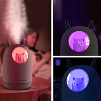 HQXING Home Appliances Humidificateur USB 300ml Cute Pet ultrasons brume fraîche Air Aroma Huile Diffuseur romantique Lampe LED couleur Humidificador