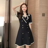 Vestidos casuais Coigarsam Knitting Mulheres vestido de uma peça vestido coreano verão primavera de manga curta alta cintura preta damasco 917