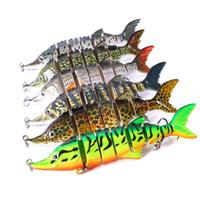 Nuevo Swimbaits multi-articulado realista de siete cuerpos segmentados Señuelo de pesca 11cm 16g Natación en forma de S Cazo de goma de aleta y cola para bajos de aleta lenta
