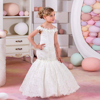 Bianco / avorio Hot Lace Mermaid Flower Girl Dress Bambini Birthday Party abiti da prima comunione Abiti da cerimonia formale