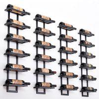 Suporte de arte em ferro moderno Suporte de vinho montado em Paredes de ferro simples Suporte de Arte Em Ferro Caixa De Aço Tipo 2-6 Garrafas