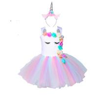 Flower Girls Unicorn Tutu Dress pastello Rainbow Princess Girls Birthday Party Dress Bambini Bambini Halloween Unicorn Costume 1-14Y