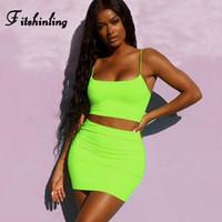 İki Parça Elbise Fitshinling Neon Set Yaz Giysileri Kadınlar Için Camiş Etekler Kıyafetler Suits Floresan Seksi Ince Sıska Sokak Setleri