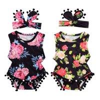 Niño recién nacido ropa de la muchacha sin mangas impreso floral de las borlas del mono del mono sunsuit Outfit + Headband Set