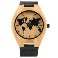 Nouvelle Arrivée Nature Bois Bambou Black Watch Planisphère Dial Montres poignet Quartz analogique Bracelet homme en cuir Bracelet reloj de pulsera
