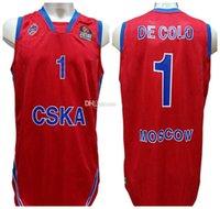 Nando de colo # 1 cska moscow retrò basket jersey mens cucito personalizzato qualsiasi numero Nome maglie