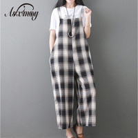 Rompers Womens Jumpsuit Summer Spring Plaid Cotton Linen Wid...