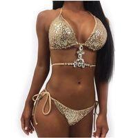 Mujeres lentejuelas Bikini Sets Sexy Bras Breves 2pcs del vendaje del bikini traje de baño de diseñador Ropa Festidoes