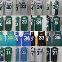 Vintage Basquete Kevin Garnett Jersey 5 21 Larry Pássaro 33 Ray Allen 20 Jesus Shuttlesworth 34 Costura Verde Branco Verde Preto azul