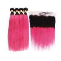 Dunkle Wurzeln rosa Farbe Gerade 3Bundles mit Spitze Frontal seidige gerade Haar-Verlängerungen mit Farbiges 1B Hot Pink Frontal Verschluss 13x4