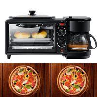 Ticari Ev Elektrik 3 1 kahvaltı yapma makinesi Fonksiyonlu Mini Damla Kahve Makinesi Ekmek Pizza Vven Kızartma tavası Tost içinde