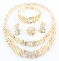 Nueva traje africana joyería fija el color oro cristalino de la manera collar de novia de la boda del Rhinestone del brazalete del anillo de los pendientes Conjunto