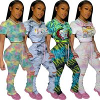 Pants Slim Ripped Tracksuits Stacked Pants Matching Sets Tie...