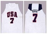 Equipe Dream EUA Derrick Rose # 7 Branco Retro Basquete Jersey Mens costurado Personalizado Algum Número Nome Jerseys