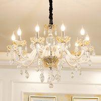 Lampadario di cristallo Europa K9 LED Filamento E14 6500K 3500K Pendente pendente Appeso Lampada da Home Lampada Home Illuminazione 110V-240V DHL