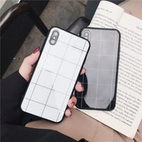 For iphone xs max phone case minimalist line square glass al...