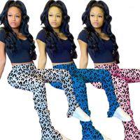 Casual Stacked Hosen der Frauen Kleidung der Frauen Micro Flare Stacked Hosen Leopard-Designer Stacked Hosen natürliche Farben drucken