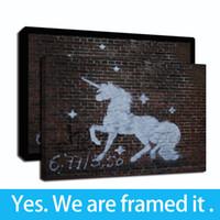 Banksy Graffiti animal Unicorn Street Art Huile encadrée Imprimer Toile Giclée Peinture sur toile Décoration d'intérieur - prêt à accrocher