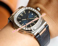 Venta caliente para hombre del diamante del bisel de 40 mm 5711 / 1A-001 Miyota CAL.324 S C Piel trasera transparente mecánico automático relojes Mejor