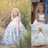 2020 Prenses Kolsuz V Geri Dantel Kristal Çiçek Elbiseler Mavi Custom Made Kızlar Çocuk Abiye Giyim ilk komünyonu Elbise