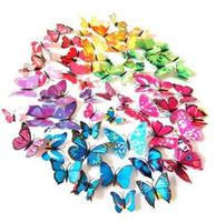 12 STÜCKE 3D PVC Magnetische DIY Schmetterlinge Home Room Wandaufkleber Dekor Mit Doppelseitenkleber Kühlschrankmagnet Freies Verschiffen Heiße Verkäufe