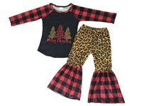 Children girl clothes set paid leopard print long sleeve Christmas outfits