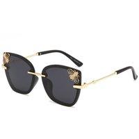 2020 نساء الجديد مصمم luxtury المضلع الإطار النحل نظارات معدنية ذهبية إطار UV 400 خمر زجاج أحد ظلال Oculos
